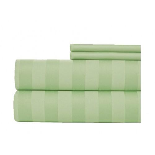 Juego de sábanas 400 hilos en algodón para cama extradoble de 1,60 x 1,90-Verde Claro