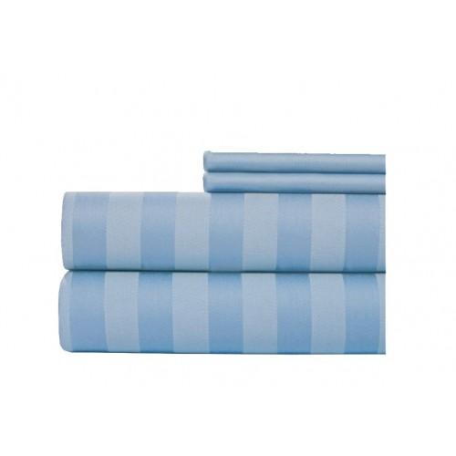Juego de sábanas 400 hilos en algodón para cama extradoble de 1,60 x 1,90-Azul Claro